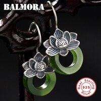 BALMORA 925 Sterling Silver Lotus Flower & Chalcedony Dangle Drop Earrings for Women Lady Lover Bijoux Jewelry Brincos JWE1060