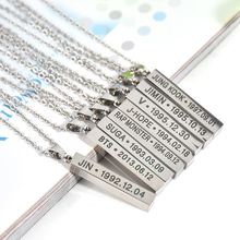 BTS Members Name Date Cuboid Bar Pendant Necklace