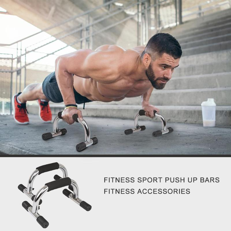 1 Pair Chromed Push Up Bar With Foam Handle For Arm Fitness Chest Training Push-up Support Outdoor Indoor Fitness Shaping Tool