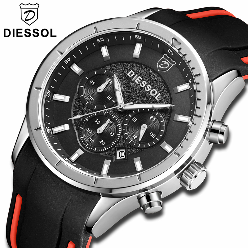 DIESSOL Fashion Mens Watches Top Brand Luxury Waterproof Quartz Watch Men Rubber Band Military Sport Watch