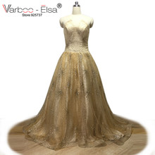 VARBOO ELSA Gold Glitter Evening Dress Sexy Strapless Prom Dress Floor Long  Party Gown vestido de festa ee10f1973285