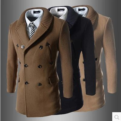 2015 new winter knit collar stitching stick a skin Han edition men's cultivate one's morality trench coat