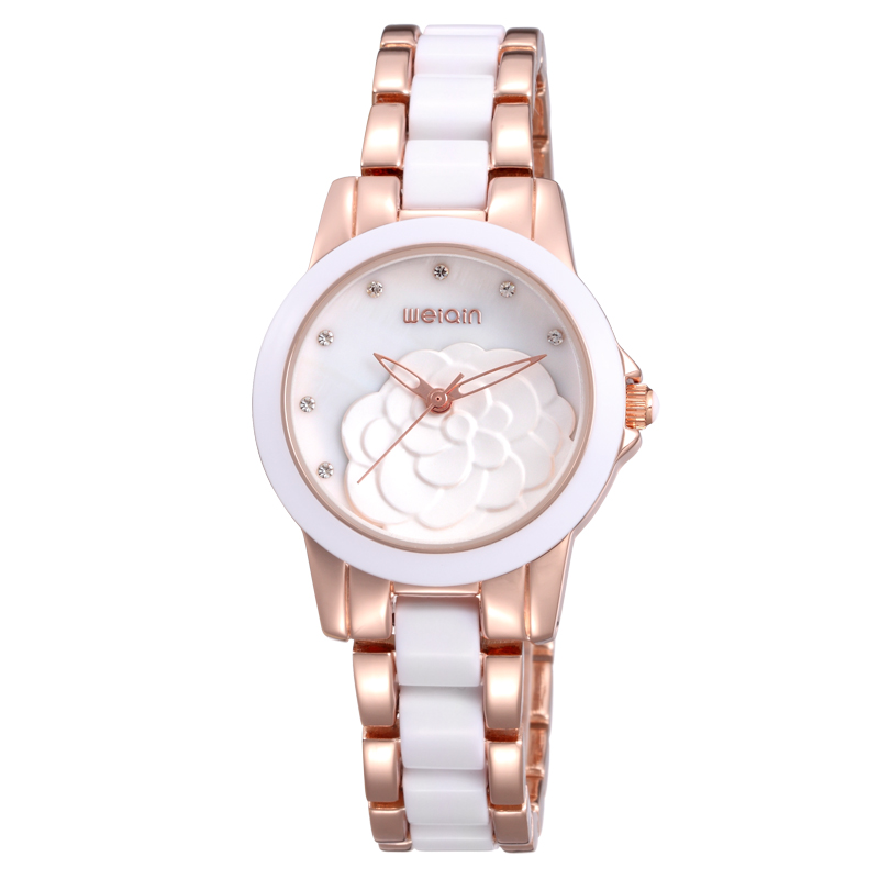 Brand WEIQIN Watches Woman Rose Gold White Rhinestone Crystal Flower Hollow Fashion Watch Women Ladies Dress WristwatcH in Women 39 s Watches from Watches