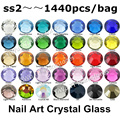 Оптовая продажа 1440 шт./лот, ss2 (1.2 мм) Multi Цвета Crystal AB, Фуксия 3D Плоской Задней Номера Исправлений Ногтей Клей На Стразы