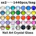 Comercio al por mayor 1440 unids/lote, ss2 (1.2mm) Colores Multi Crystal AB, Fucsia 3D la Parte Posterior Plana No Hotfix Nail Glue Arte En Piedras