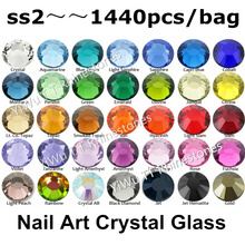 Wholesale 1440pcs/lot,ss2 (1.2mm) Multi Colors Crystal AB,Fuchsia 3D Flat Back Non Hotfix Nail Art Glue On Rhinestones
