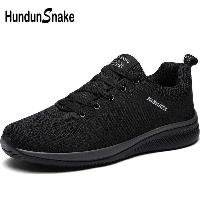 Hundunsnake Mesh Mens Running Shoes Men's Sneakers Man Sport Shoes Sports Male Shoes Walking Summer Chaussure Homme Black B-015