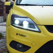 2 قطعة LED المصابيح الأمامية لفورد فوكس 2009 2011 led أضواء السيارة عيون الملاك زينون طقم مصباح تفريغ عالي الشدة الضوئية الضباب أضواء LED النهار تشغيل أضواء