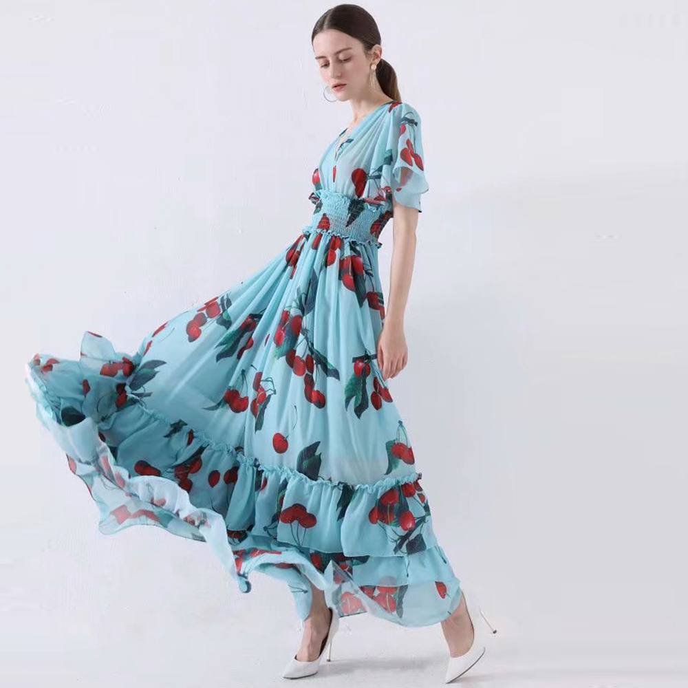 Red RoosaRosee Designer Runway Women Elegant Long Maxi Party Dress Flower Print Sexy V Neck Holiday