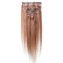 Best Sale Women Human Hair Clip In Hair Extensions 7pcs 70g 15inch Camel-brown + Red