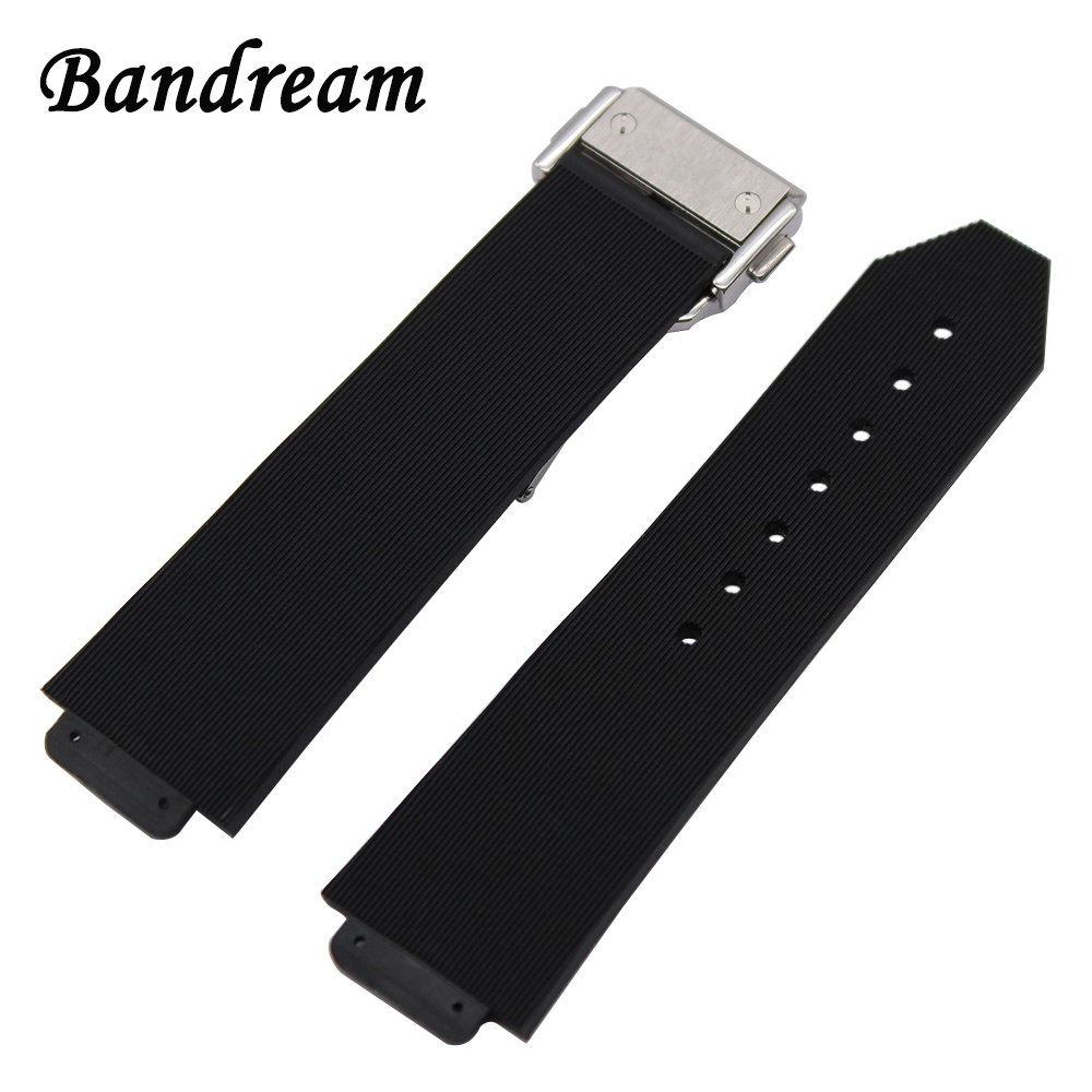 Silicone Rubber Watchband 23mm x 15mm for Hublot Big Bang Watch Band 20mm Stainless Steel Buckle Strap Wrist Belt Bracelet Black silicone rubber watchband double side wearing strap for armani ar watch band wrist bracelet black blue red 21mm 22mm 23mm 24mm