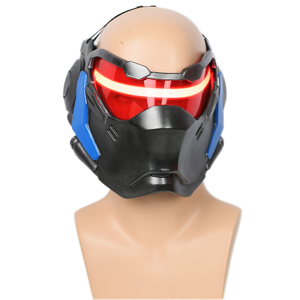 Clearance OW Soldier 76 Mask High Quality Resin Face Masks Game Cosplay Costume Props Halloween Mask With LED Light
