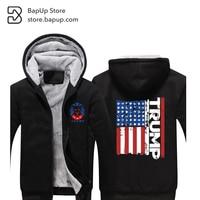 BapUp Hot Sale 2017 Mens Hoodies Jacket Trump Thicken Fleece American Flag Sweater Palace Fashion Coat