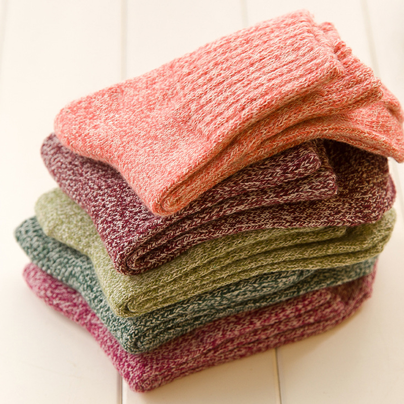 1Pair Hot sale Warm Winter Women's Socks Pure color Woolen Soft Thick Cashmere Socks one set winter thick socks