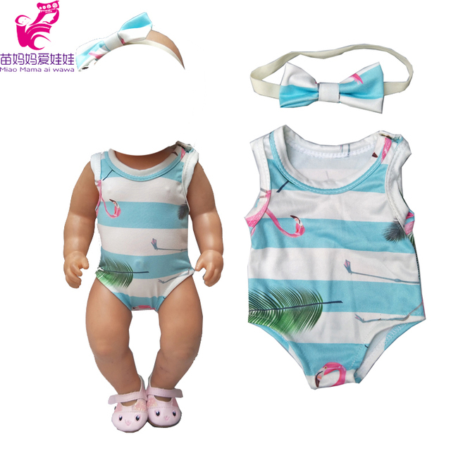 For  baby doll clothes 40cm-43cm reBorn baby doll Clothes reindeer Short Rompers Doll Flamingo elastic base shirt