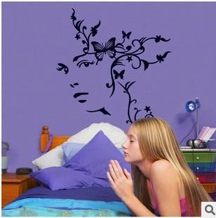 1pc 95100cm women flower living room vinyl wall art decals bedroom wall  stickers home   Bedroom. Bedroom Wall Art  Wall Sticker Quote Always Kiss Me Goodnight Over