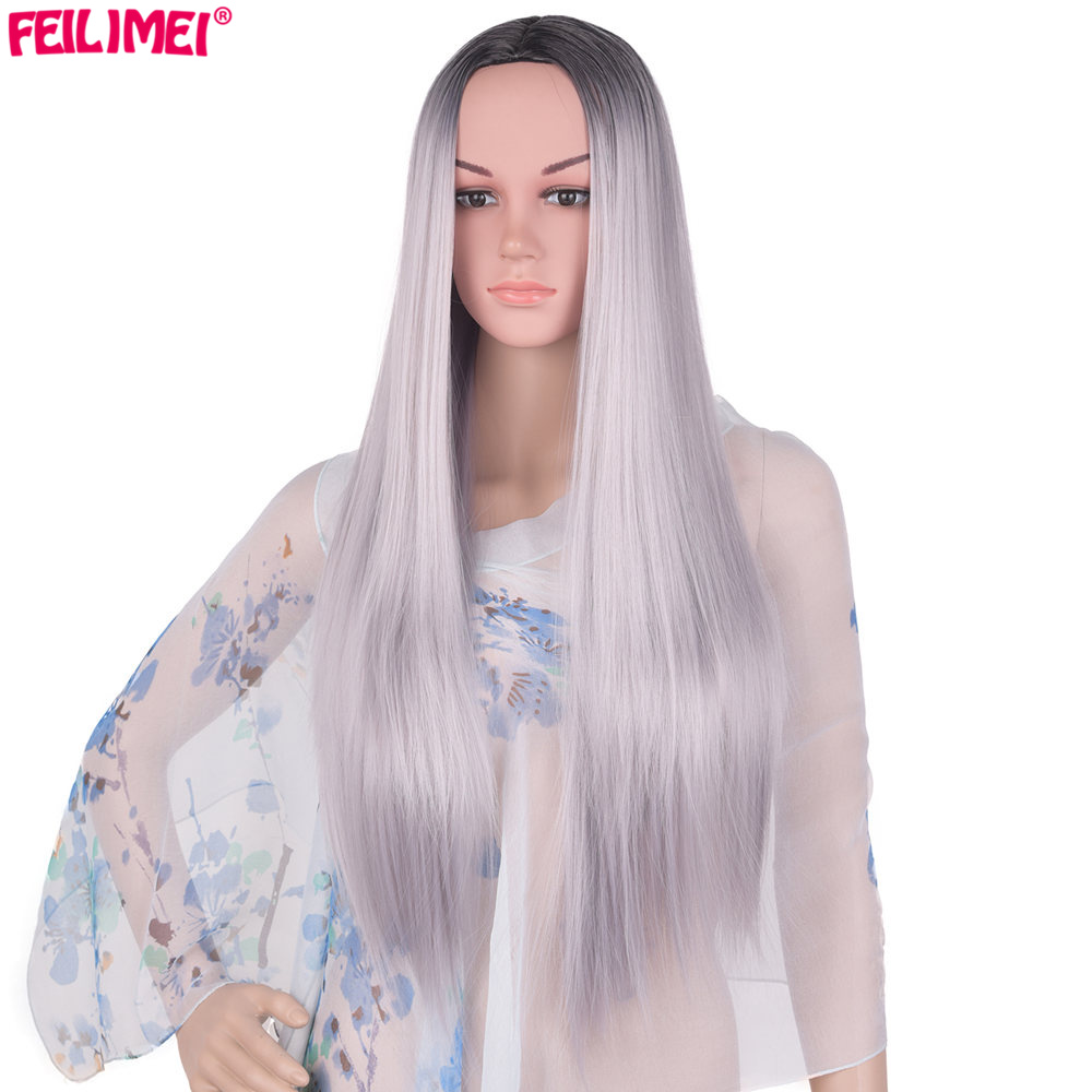 Feilimei Middle Part Ombre Gray Wig Synthetic Japanese