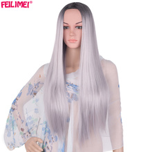 hot deal buy feilimei ombre gray wig synthetic japanese fiber 26 inch 280g long straight full head black wigs for women hair extensions