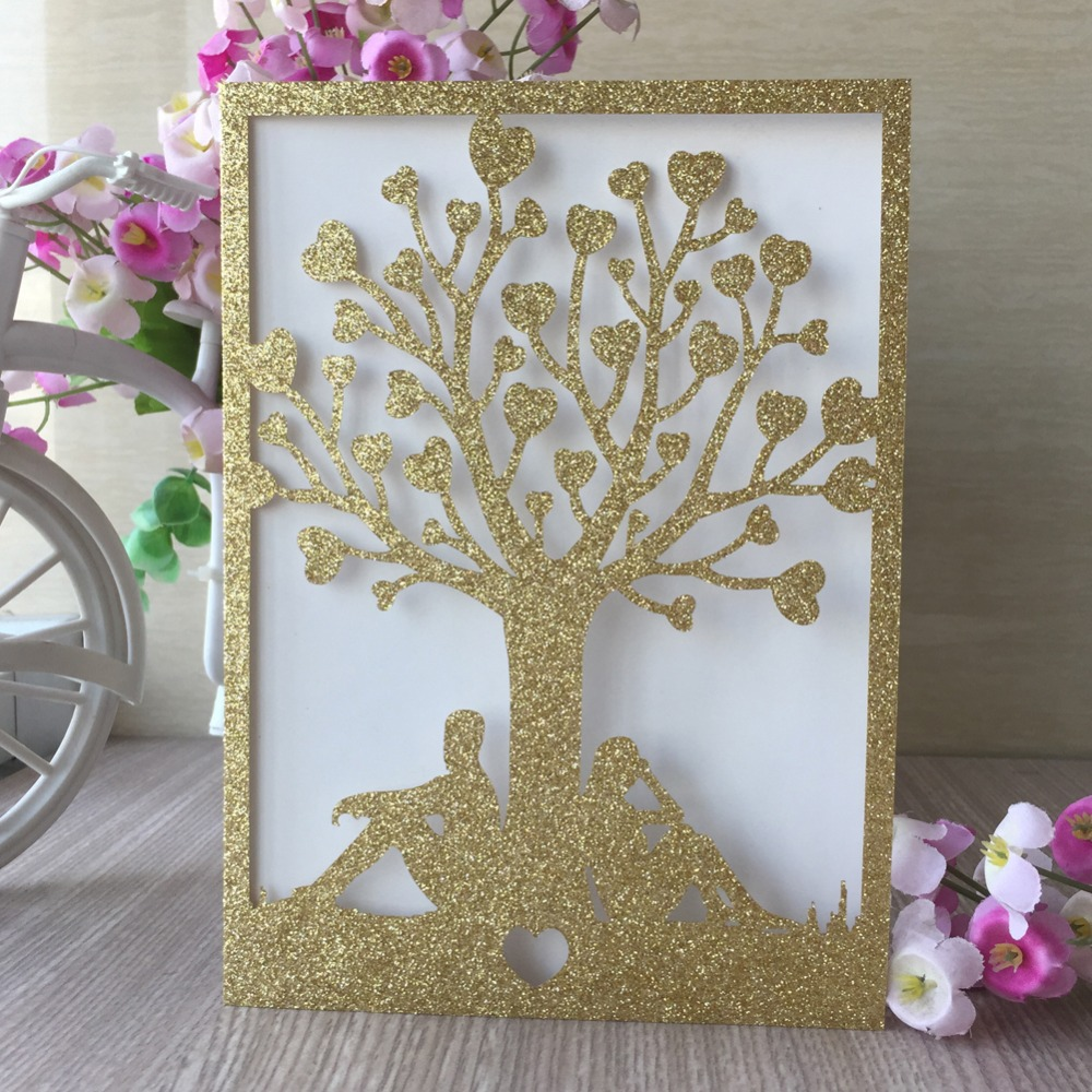 40pcslot new arrival glitter paper laser cut carved tree