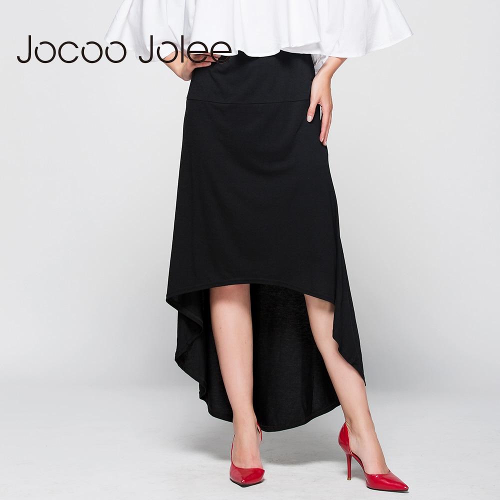 Jocoo Jolee Ženy Asymetrická sukně vlaštovka ocas přírodní pas pas příležitostné párty pláž vybavená elegantní dlouhá sukně dámská Jupe