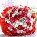 Свадебные Аксессуары Атласная Свадебный Букет Свадебные Pearl Букеты Свадебные Цветы Букет невесты Со Стразами D197