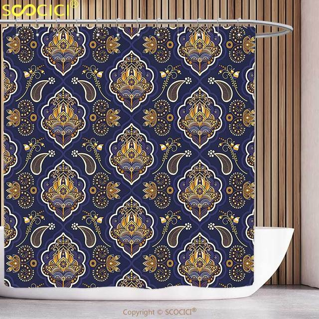 Stylish Shower Curtain Paisley Decor Ethnic Indian Pattern With Arabesque  Effects And Floral Ornaments Print Indigo
