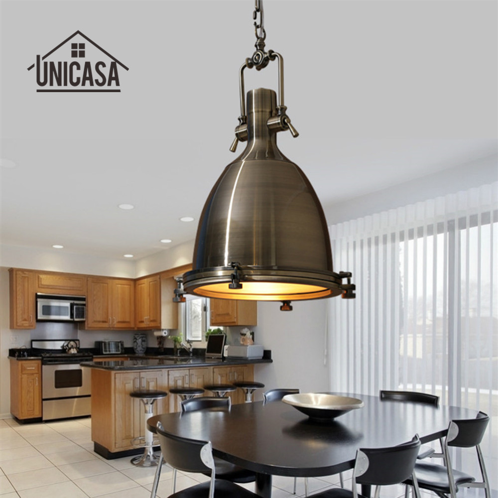 Wrought Iron Pendant Lights Vintage Industrial Lighting Bar Hotel Kitchen Island Bronze LED