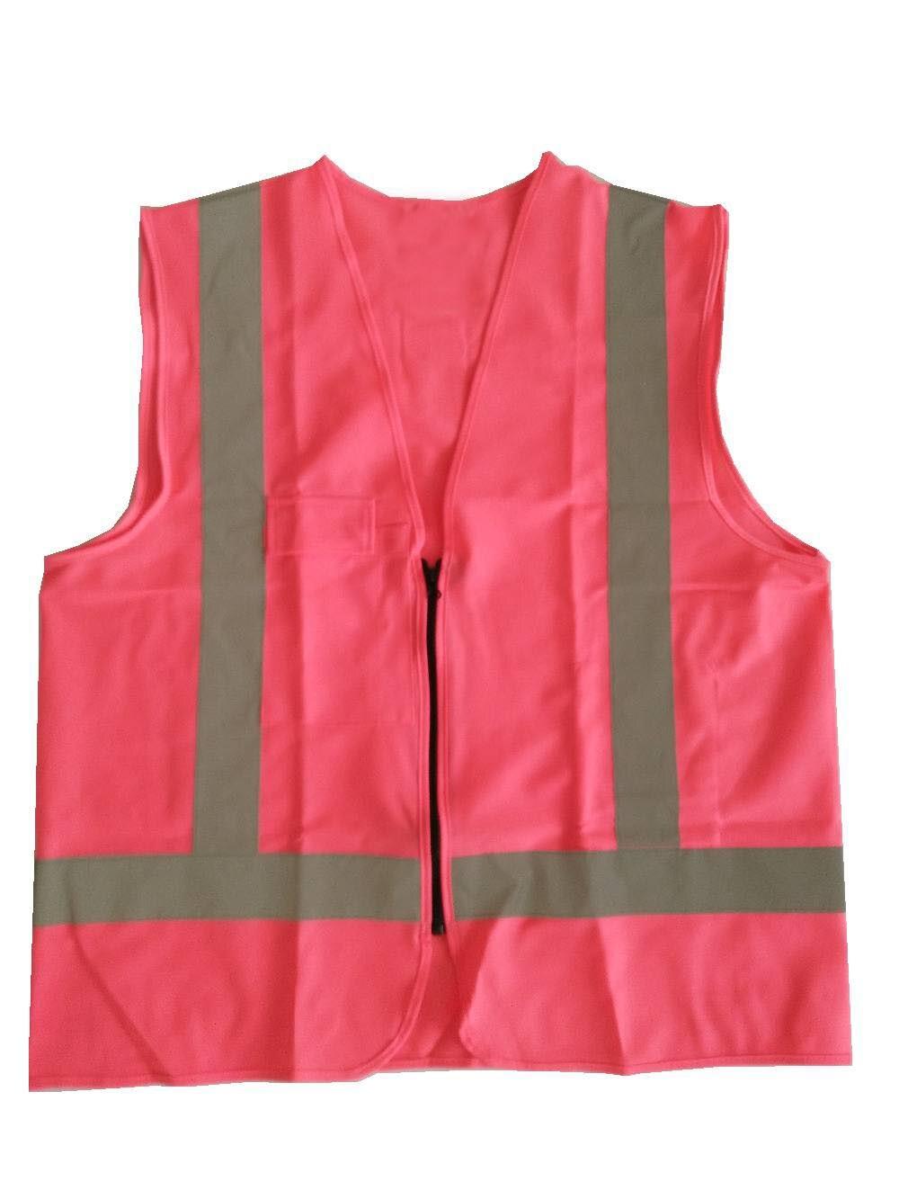 Reflective Vest Pink Safety Hi-vis knitted Vest with a Zipper volero brand mens denim vest with zipper
