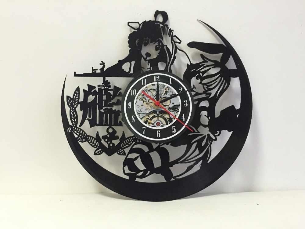Reloj de vinilo Vintage de dibujos animados japoneses para decoración de pared de dormitorio