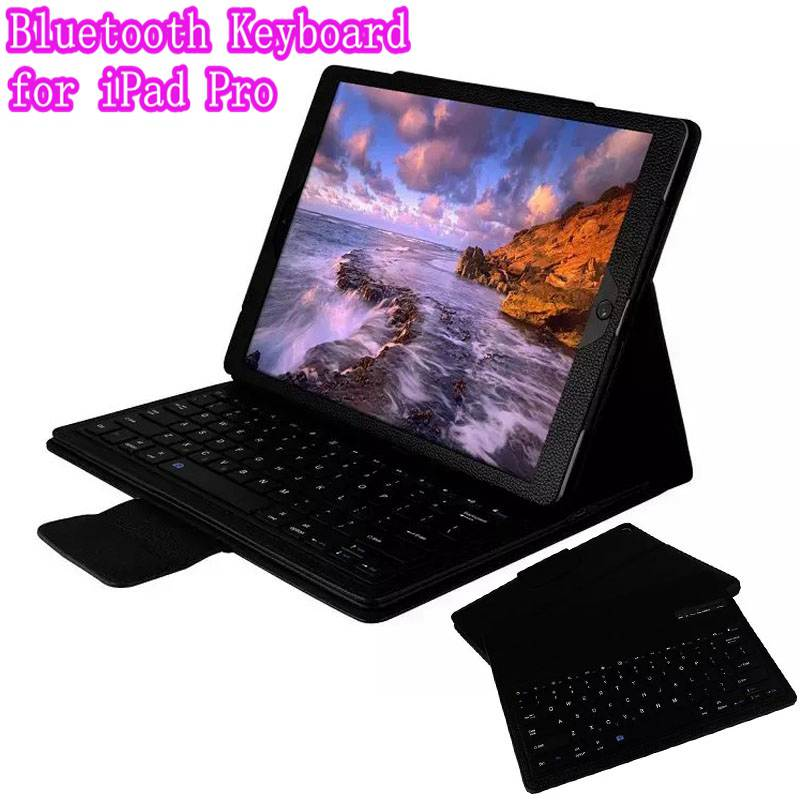 Top Quality Stand Smart PU Leather Case Cover With Detachable Bluetooth keyboard for iPad Pro 12.9 inch Tablet+Retail Box new detachable official removable original metal keyboard station stand case cover for samsung ativ smart pc 700t 700t1c xe700t