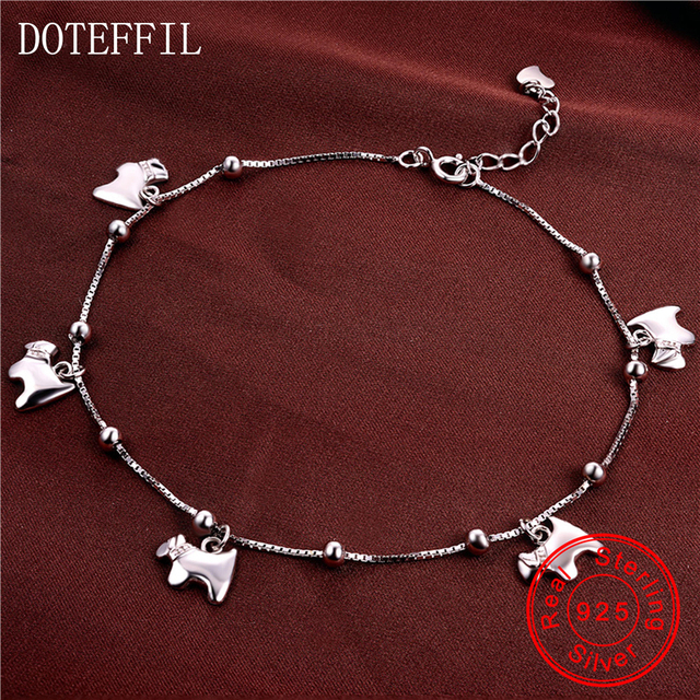 Fashion 100 sterling silver anklet woman charm 925 silver horse fashion 100 sterling silver anklet woman charm 925 silver horse pendant anklet high quality jewelry aloadofball Gallery