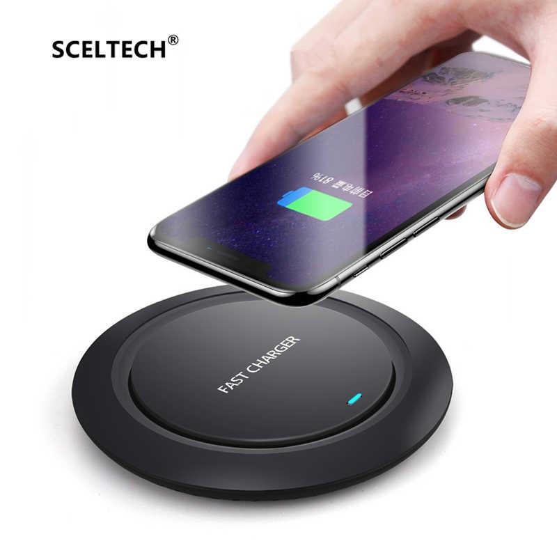 SCELTECH Qi rápido cargador inalámbrico para iPhone X XS X Max 8 Plus Xiaomi Samsung Nota 9 8 S8 S9 Plus carga rápida inalámbrica del teléfono USB