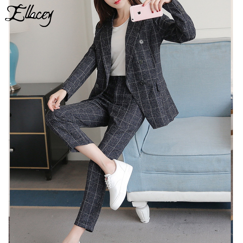 Ellacey England Style Vintage Women s Suit Casual Retro Plaid Pant Suits Bussines Blazer 2 Pieces