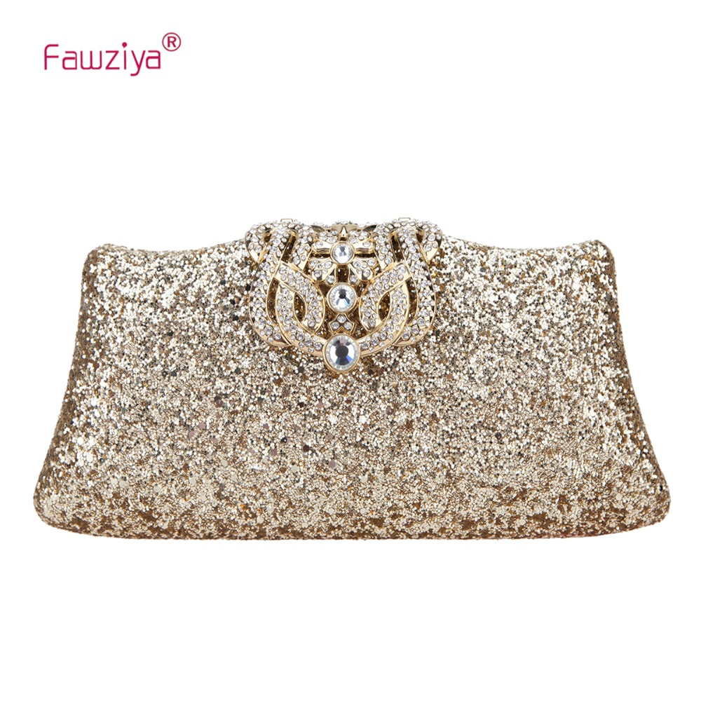Fawziya Glitter Evening Bag Bling Crown Clutch Purses For Women fawziya apple clutch purses for women rhinestone clutch evening bag