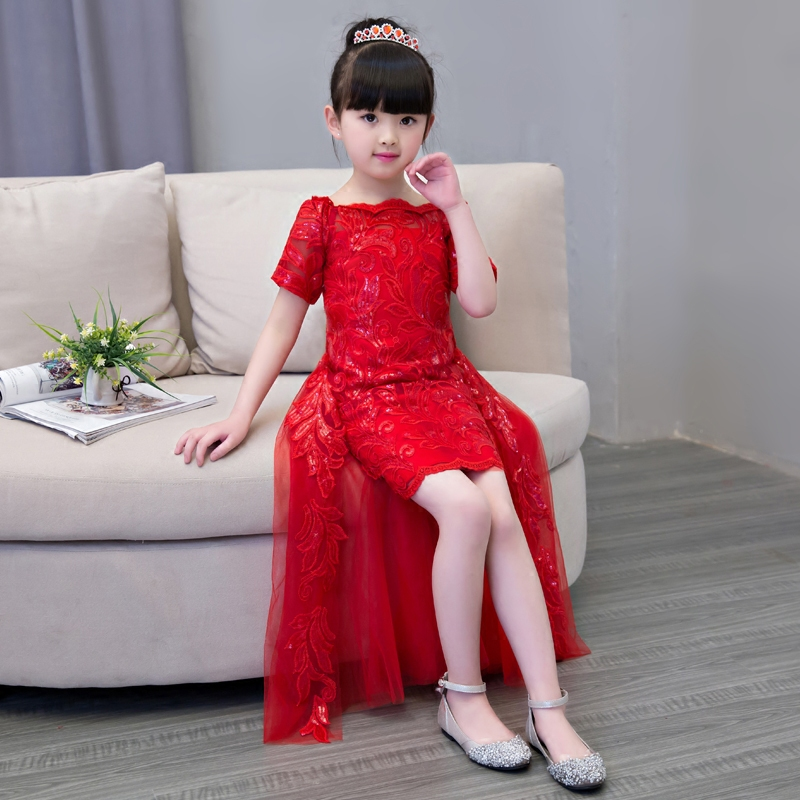 Red/White Fashion Popular Girls Children Princess Party Dress With Tail Wedding Birthday Embroidery Dress Kids Pageant Dress 2017 new high quality girls children white color princess dress kids baby birthday wedding party lace dress with bow knot design