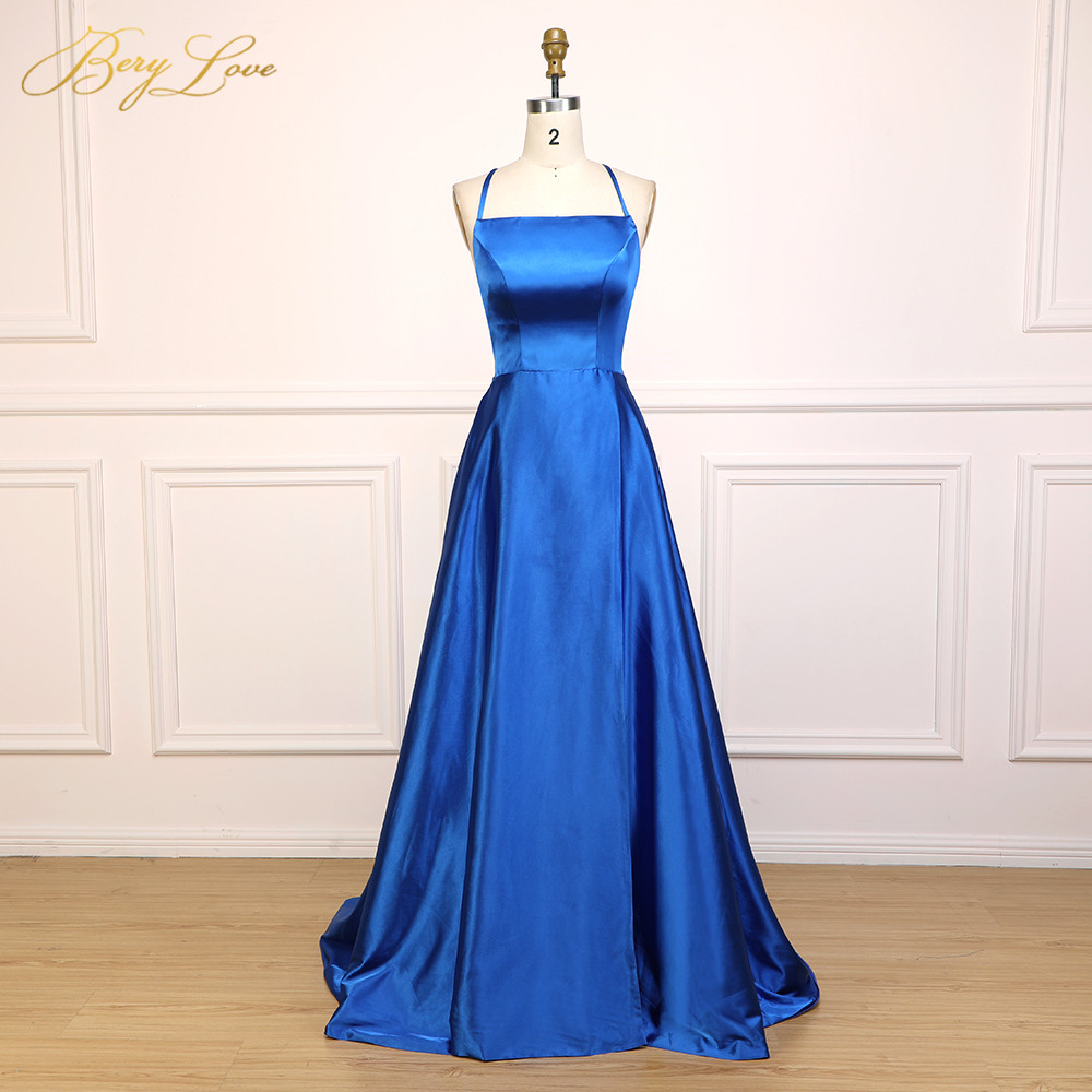 Sexy Royal Blue Satin Evening Dress 2019 Slit Backless Styles Prom Dress Gowns Party Dress Open