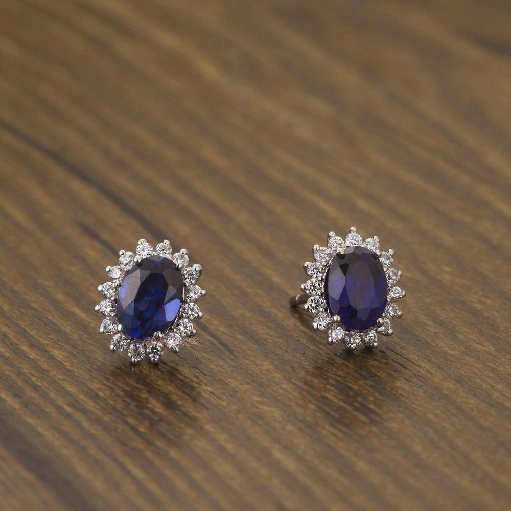 Piece Oval Shape Solid 18k Gold Women Blue Stone Earrings Synthetic  Diamond Wedding Earrings Studin Stud Earrings From Jewelry & Accessories  On
