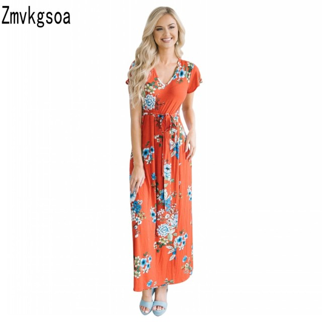 3caa69b28e3e0 US $28.68 |Zmvkgsoa Boho Summer Long Dresses Floral Print Beach Tunic Short  Sleeve Maxi Dress Women Sundress Vestidos De Festa Q610159-in Dresses from  ...