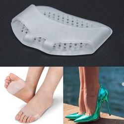 1 par de plantillas de Gel almohadones para alivio del dolor soporte para los pies delanteros cuidado zapatos de tacón alto almohadilla antideslizante herramienta de cuidado