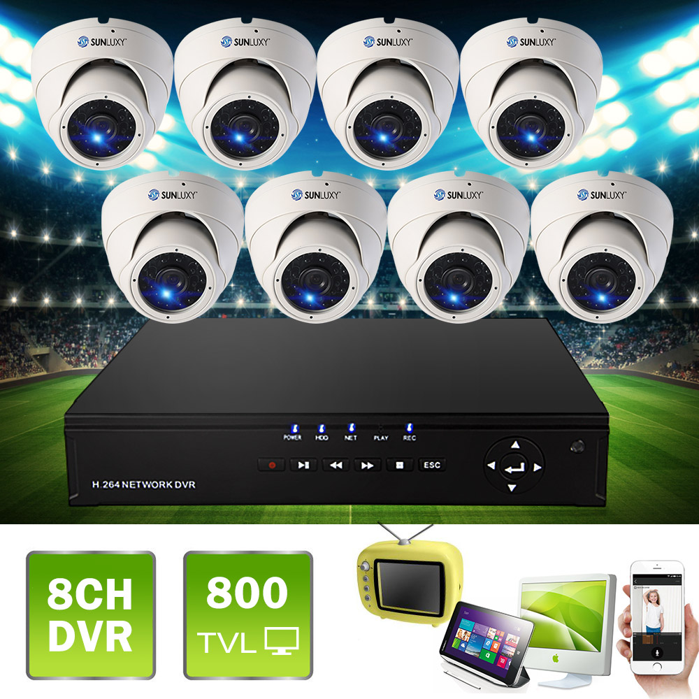 SUNLUXY 8CH CCTV System DVR Video 8pcs 800TVL IR Security Dome Camera Surveillance System Kit  8 Channel Indoor Outdoor DVR Kits keeper 700tvl 4ch home video cctv surveillance system kit for analog camera 2pcs outdoor indoor dome 20m ir security camera