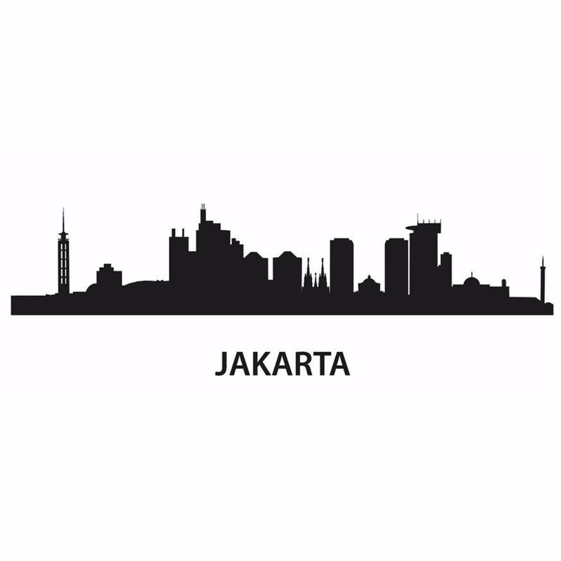 JAKARTA City Decal Landmark Skyline Wall Stickers Sketch Decals