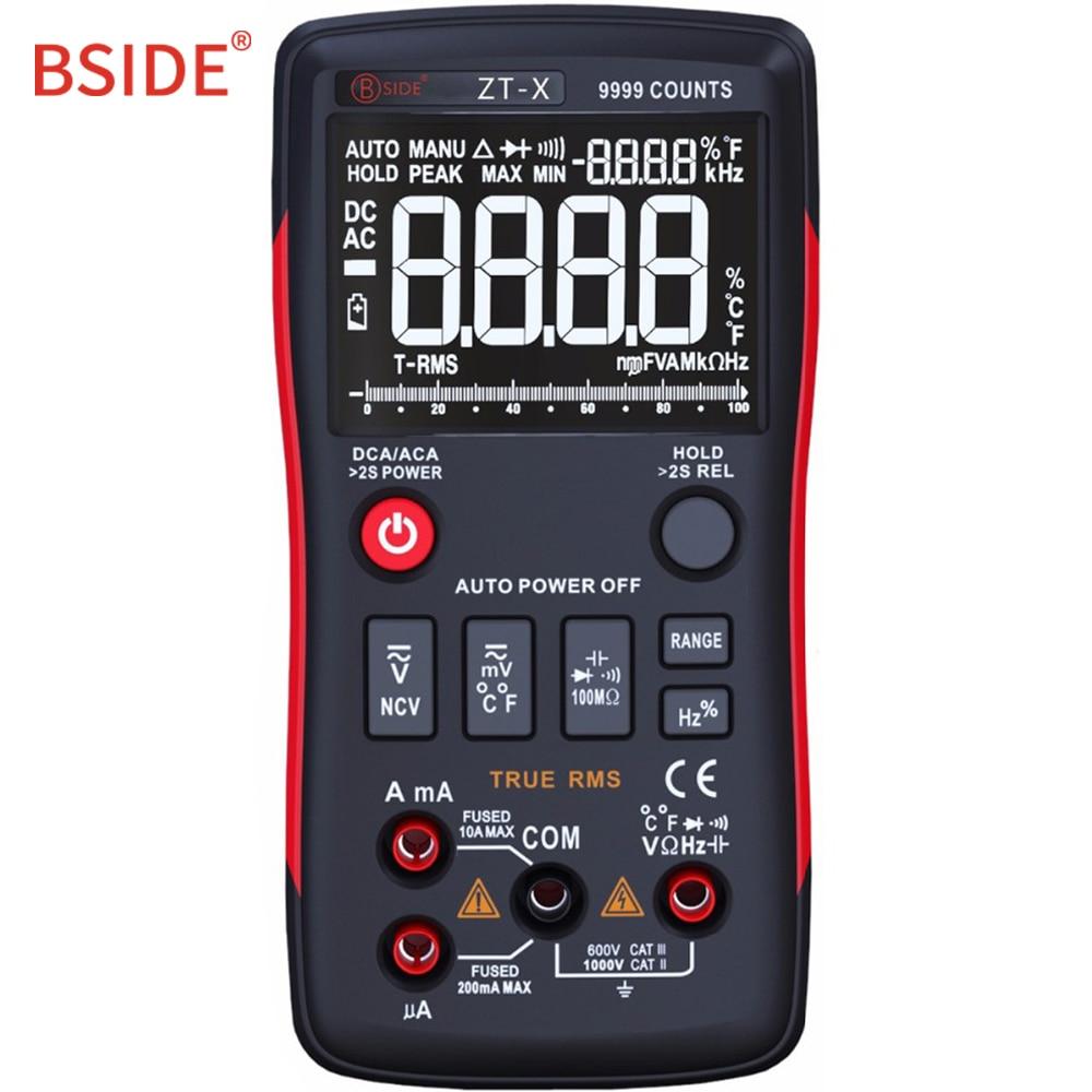 BSIDE ZT-X-True RMS Multímetro Digital 9999 Counts Multimetro DC/AC Voltímetro Amperímetro Com Gráfico de Barras Analógico Mesmo como RM409B