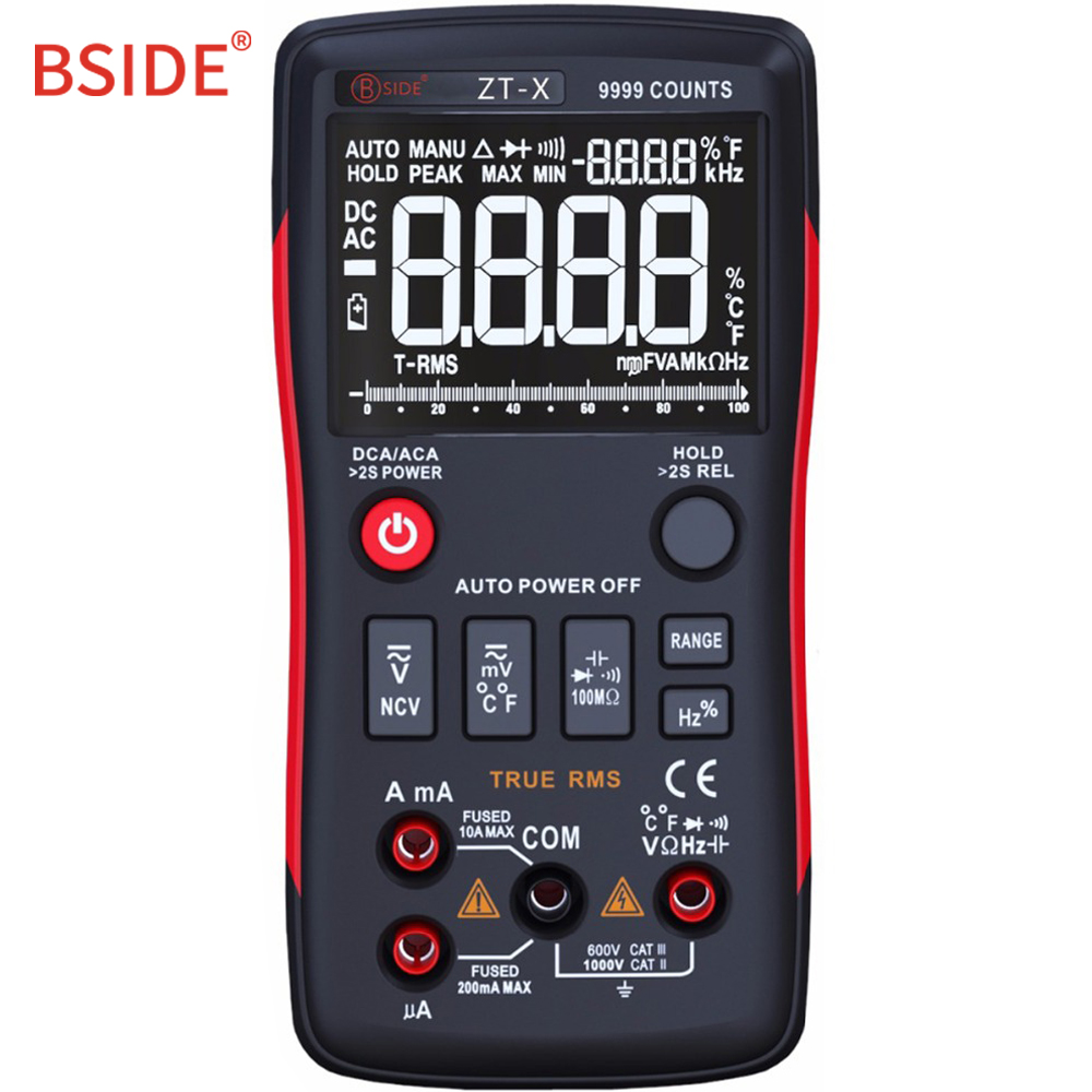 Multímetro Digital BSIDE ZT-X de verdadero valor eficaz (RMS 9999 cuenta Multimetro DC/AC voltímetro Amperímetro analógico Bar gráfico mismo como RM409B