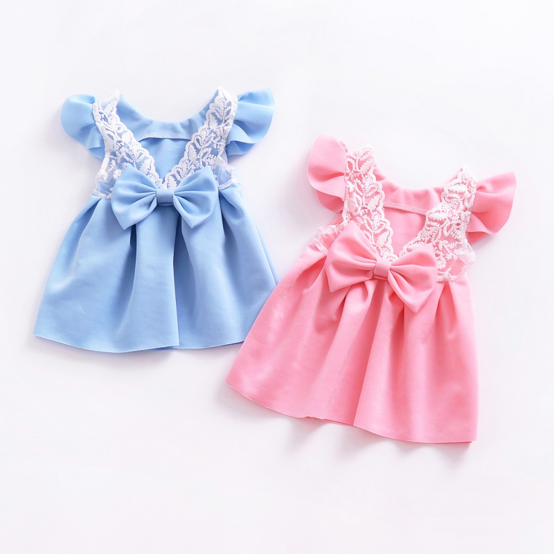 Baby Girl Dresses 2019 Bow Tie Lace Sweet Summer Kids Dresses For Girls Fashion Princess Wedding Dresses Baby Girls Clothes sensory scout