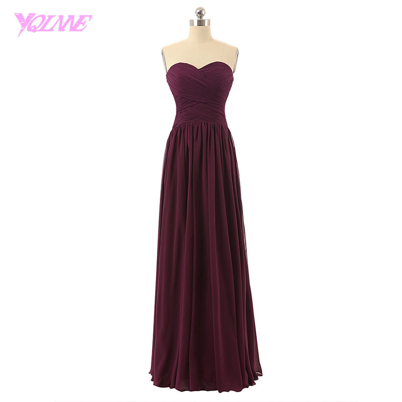 YQLNNE Burgundy Long Bridesmaid Dresses Sweetheart Chiffon Pleated Zipper Back Floor Length Wedding Party Dress pleated panel keyhole back dress