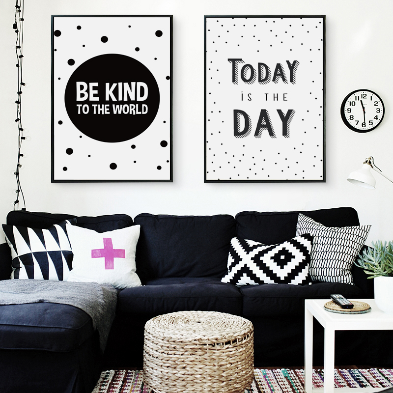 Black and White Inspirational Motivational Phrase Canvas Art Painting Print Poster Picture Wall Office Bedroom Home Decor A2 A3 in Painting Calligraphy from Home Garden