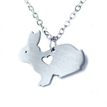 Cute animal series stainless steel rabbit brand jewelry rabbit necklace pendant for love animal your friend best gift N0518
