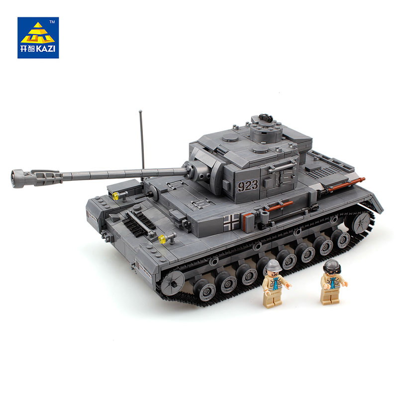 1193Pcs KAZI 82010 German Military Panzer IV War Tank Figure Blocks F2 Tank Educational Construction Building Toys For Children new military series world war ii germany panzer iv tank building brick block toys compatible with lepin