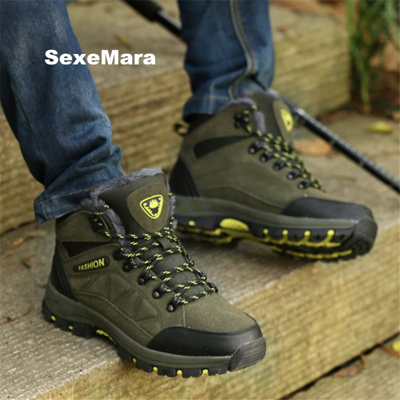 Winter outdoor hiking shoes men's soft skid shoes warm High help women and men Sneakers Unisex Fur Sport shoes arena EU 35-44 new women hiking shoes outdoor sports shoes winter warm sneakers women mountain high tops ankle plush zapatillas camping shoes