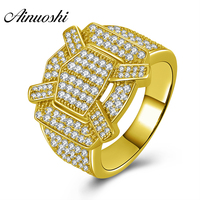 AINUOSHI Wide Wedding Male Ring 14K Solid Yellow Gold Sona Simulated Diamond Wedding Engagement Cluster Ring Jewelry Male Band